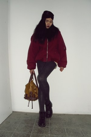 burgundy jacket - black boots - grey tights - leather bag