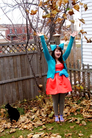 sweater - Forever 21 dress - Target scarf - American Apparel leggings - Wet Seal