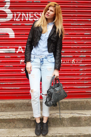 All Saints jacket - Oasis boots - Zara jeans - Atmosphere shirt - balenciaga bag