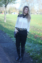 Atmosphere blouse - Oasis boots - vivienne westwood bag - H&M pants