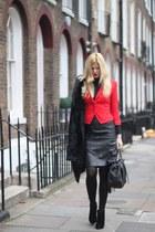 H&M blazer - new look boots - Oasis coat - leather bag Francesco Biasia bag