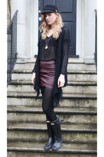Hunters boots - River Island cardigan - asos skirt