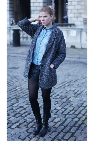Topshop coat - warehouse boots - Francesco Biasia bag
