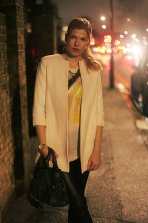 Helmut Lang top - Zara blazer - balenciaga bag - Zara pants