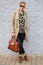 Oasis coat - Mulberry bag - Zara pants - new look jumper