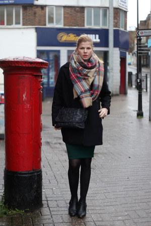 Zara scarf - dune boots - Mango coat - vivienne westwood bag