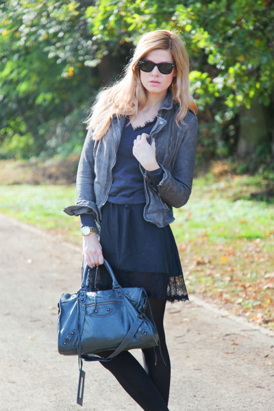 balenciaga bag - Armani Exchange dress - Muubaa jacket