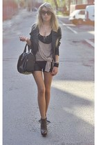 light brown heels - black bag