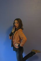 red Merona shoes - orange Tulle blazer - Refuge jeans - gray Twentyone shirt - K