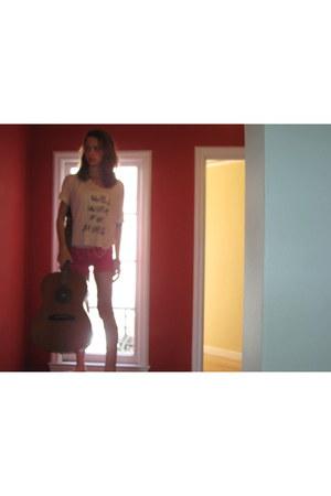 pink DIY shorts - Gibson Guitar accessories - pinkwhite Wet Seal skirt