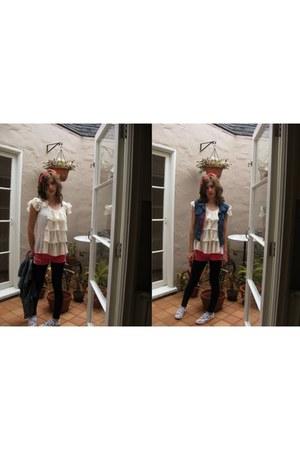 DIY shorts - rubi shoes - HUE leggings - XPOSE top - Childrens Place vest
