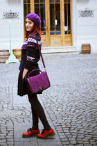 H&M sweater - magenta H&M hat - black Front Row Shop skirt