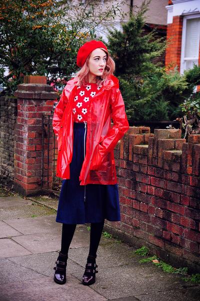 red rain coat Primark coat - navy denim whistles skirt