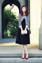 black Topshop dress - navy thrifted vintage bag - stripes H&M cardigan