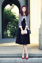 black Topshop dress - navy thrifted vintage bag - stripes H&M cardigan