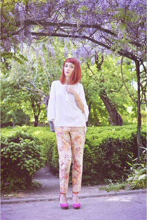 white nissa shirt - asos pants - bubble gum H&M sandals