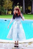 charcoal gray H&M sweater - black Zara heels - sky blue Coast skirt