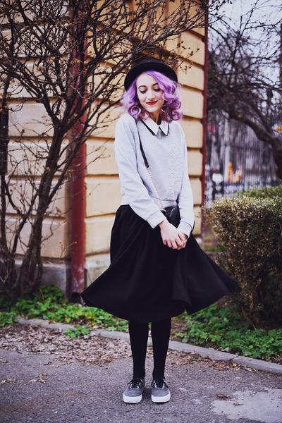 heather gray Vans shoes - black H&M skirt