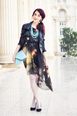 galaxy print Sheinside dress - sky blue OASAP bag - aquamarine H&M necklace