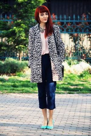 leopard print H&M coat - lace asos pants