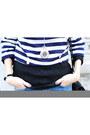 Blue-self-made-shorts-black-vintage-bag-black-asos-wedges