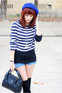 Blue-self-made-shorts-black-vintage-bag-black-asos-wedges