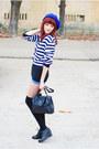 Black-vintage-bag-blue-self-made-shorts-black-asos-wedges