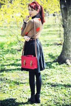COS sweater - red Primark bag - black Dorothy Perkins skirt