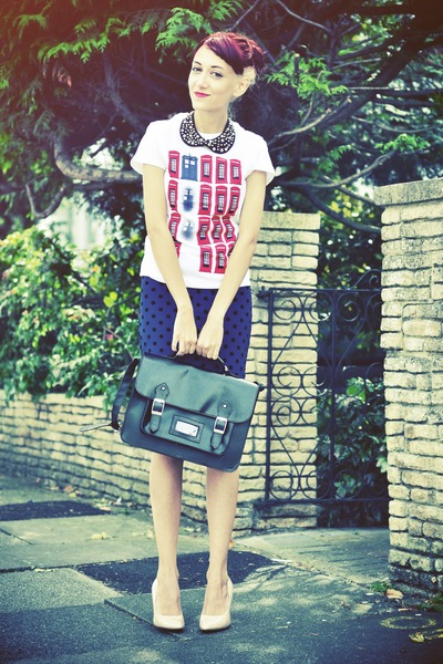 off white Qwertee shirt - navy polka dots Primark skirt
