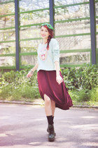 dark green doc martens boots - crimson TheITem dress - light blue H&M sweatshirt