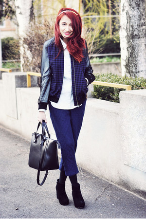 navy H&M jacket - black pieces boots - black Zara bag - navy asos pants