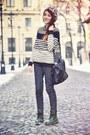 Dark-green-dr-martens-boots-leopard-print-forever-21-hat-h-m-sweater