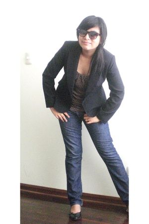Old Navy jeans - black American Eagle shoes - black blazer - brown banana republ