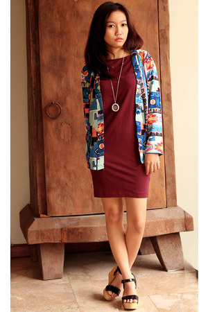 blue Hellohyellow cardigan - crimson H&M dress