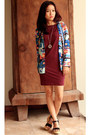 Crimson-h-m-dress-blue-hellohyellow-cardigan