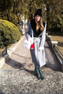 Dark-green-leather-thrifted-vintage-boots-heather-gray-wool-windsmoor-coat