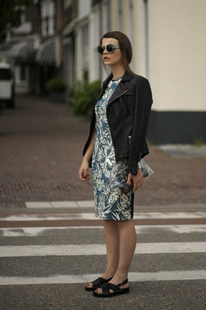 Teal-tropical-zara-dress