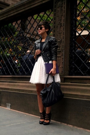 black blazer - black Aldo shoes - white vintage dress