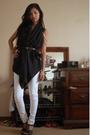 Zara vest - Blank Denim jeans - DIY shoes - Instant Vintage accessories
