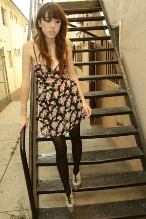 black customized secondhand dress - black tights - beige shoes