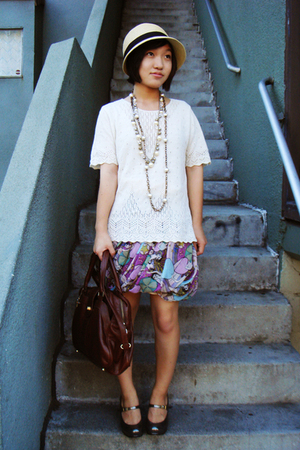 UO hat - thrifted top - heatherette skirt - Chie Mihara shoes - H&M necklace - J