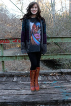 cardigan - boots - black leggings leggings - t-shirt