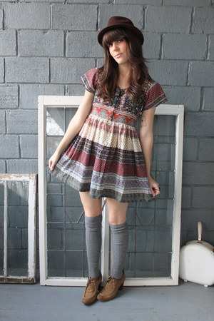 maroon vintage dress - heather gray Urban Outfitters socks - dark brown vintage