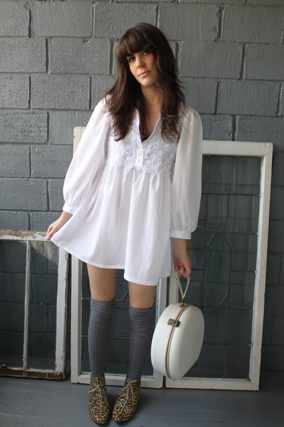 white Valentino dress - brown Urban Outfitters boots