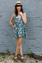 turquoise blue dress - gold fedora hat - brown wedges