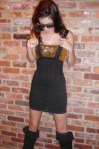 black vintage dress - gold vintage top - black vintage boots