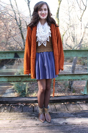 burnt orange cardigan - brown vintage boots boots - off white scarf - blue skirt