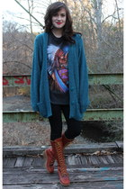 teal cardigan - tawny boots - black black leggings leggings - dark gray t-shirt