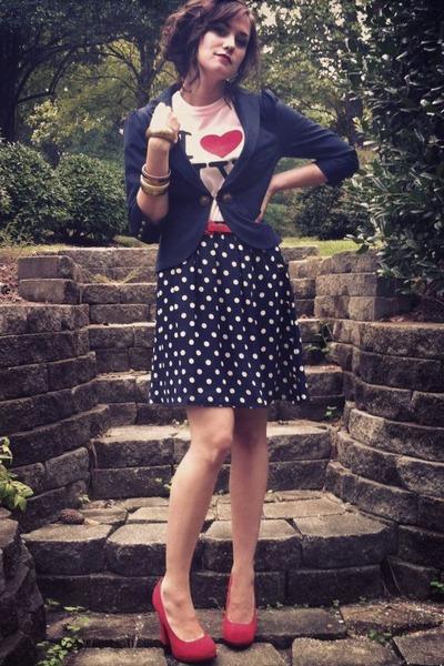 skirt - navy blazer blazer - shirt