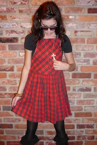 red vintage dress - black vintage boots
